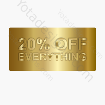 20% for shop, a graphic with gold background