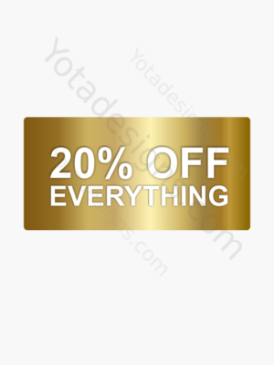 20% for shop, a graphic with gold background with white text