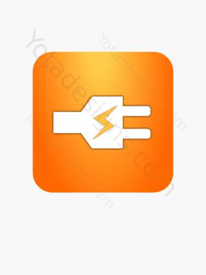 icon of white electric plug with orange background